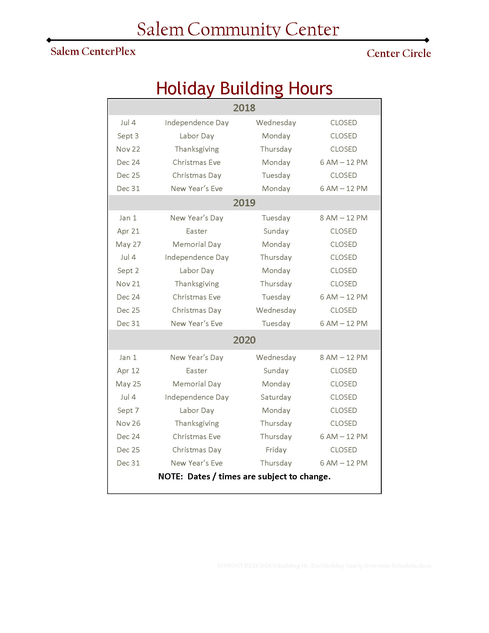 Holiday Yearly Overview Schedule