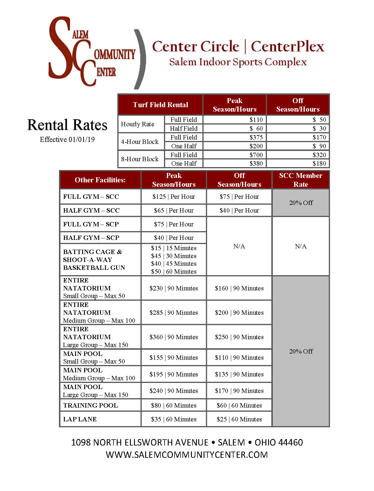 SCC SCP and CC Exclusive Activity Area Rental Prices 010119