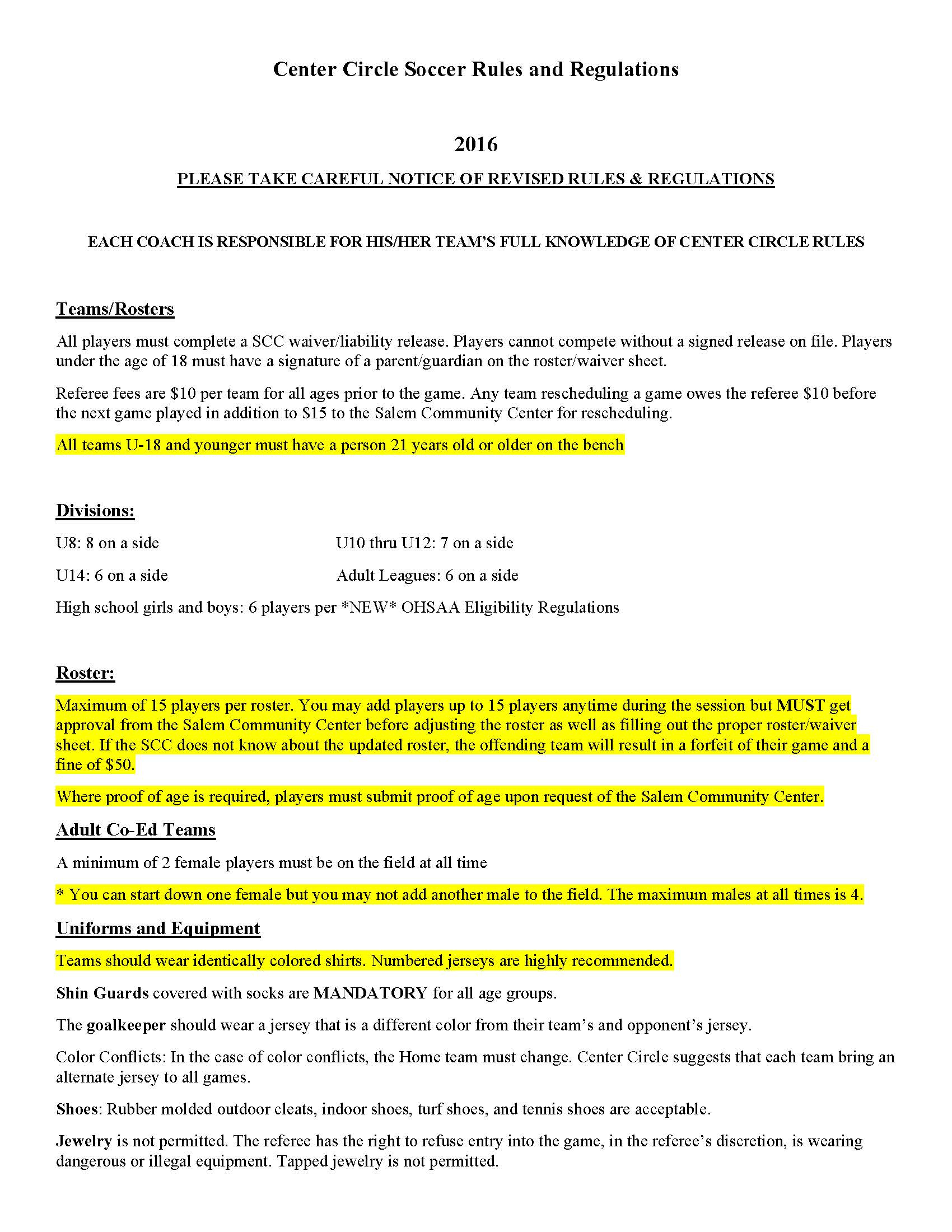 NEW Center Circle Soccer Rules and Regulations Page 1