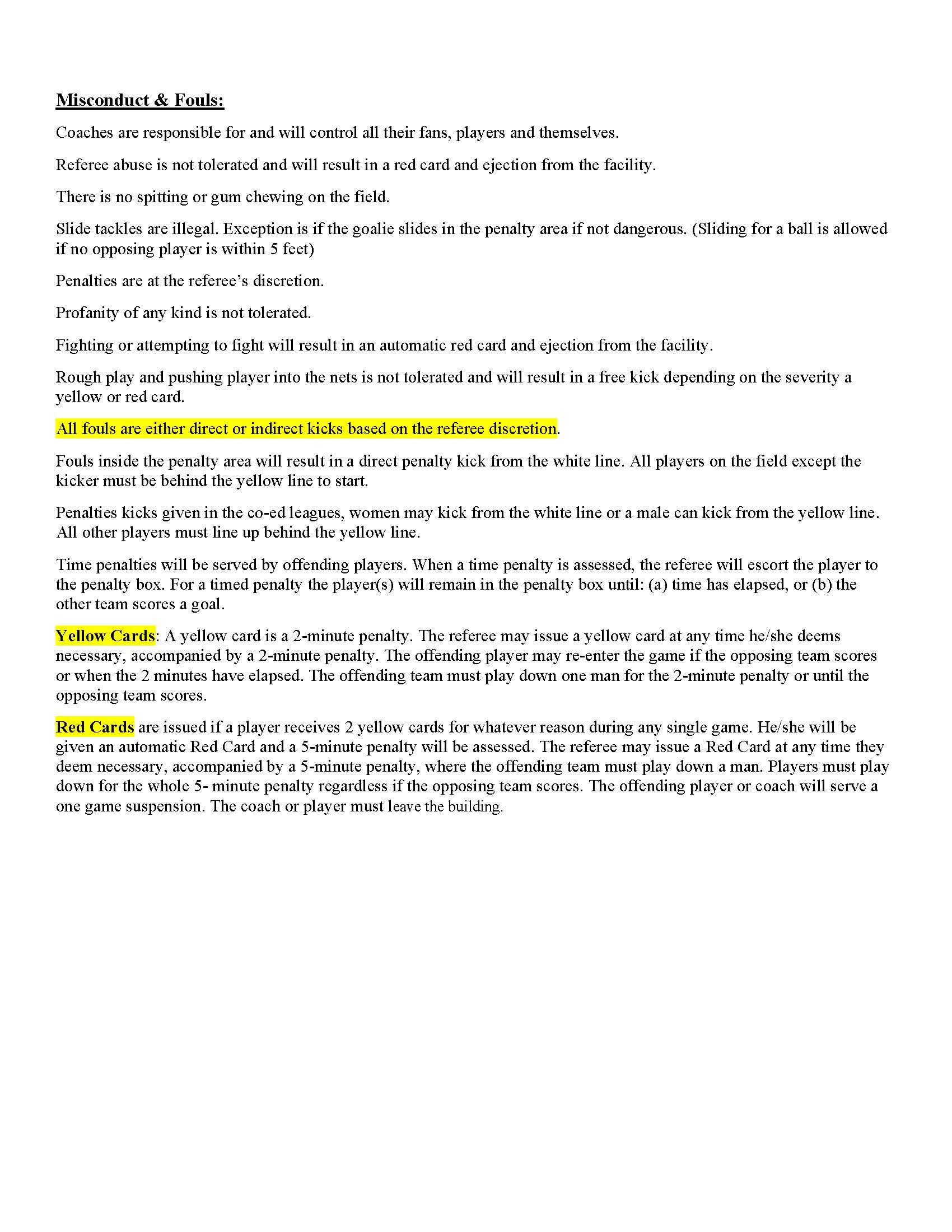 NEW Center Circle Soccer Rules and Regulations Page 3