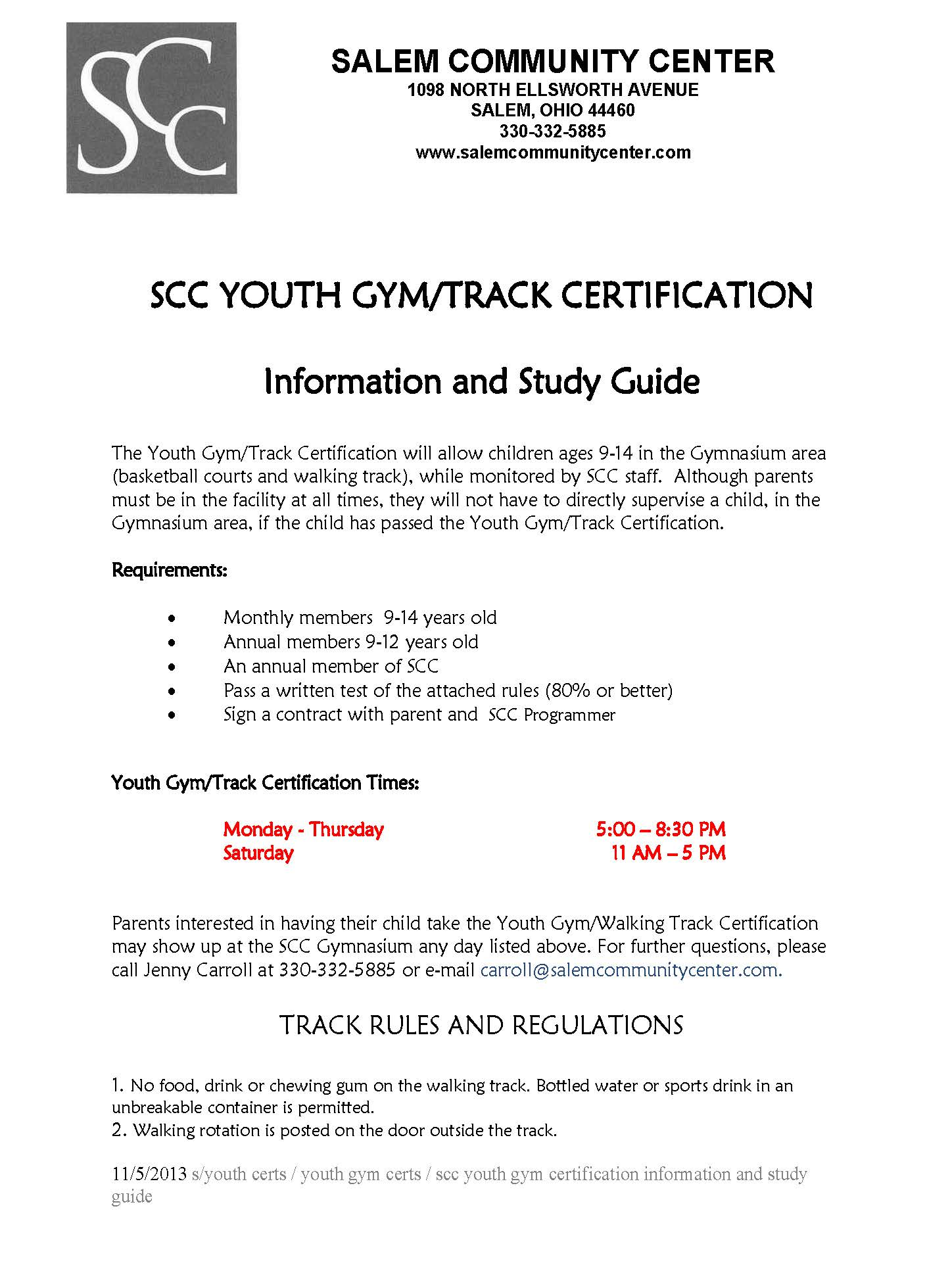 gym track certification Page 1